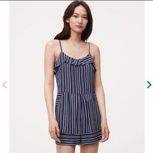 Loft navy and white striped romper